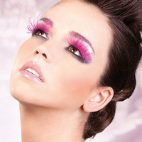 Other Fashion Accessories (Baci): Hot Pink Feather Eyelashes.