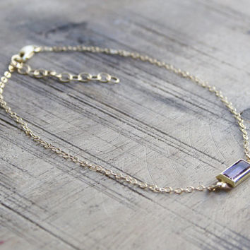 Gold filled anklet, purple anklet, elegant gold anklet, crystal anklet, wedding gold anklet, gold summer anklet, gold anklet, stone anklet