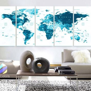 "XLARGE 30""x 70"" 5 Panels 30""x14"" Ea Art Canvas Print Watercolor Map World Countries Cities Push Pin Travel Wall color Blue decor Home"
