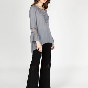Apparel- Penny Embroidered Front Peasant Mid-Sleeve Top