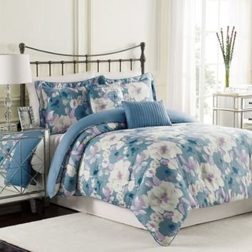 Raymond Waites Mae Comforter Set in Blue
