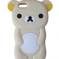 LliVEER New White Rilakkuma Bear Soft Silicone Case Protective Cover for Apple iPhone 5C