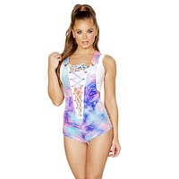 Velvet Tie Dye Deep V Lace up Rave Overall Bodysuit