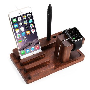 Watch Stand,Bamboo Docking Station Charger Dock Desk Holder Display Cradle Bracket for iPod iPhone iPad & Other Phones Tablets