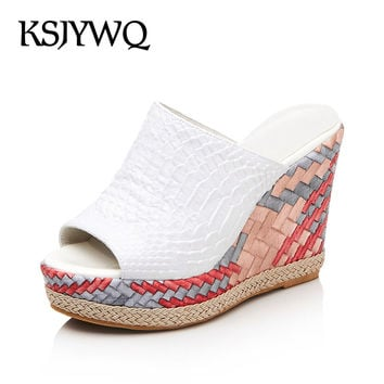 KSJYWQ PU Leather Women Mules Summer Slippers 11 cm High Wedges on Platform Sandals Sexy Peep-toe Shoes Woman Box Packing 17-98