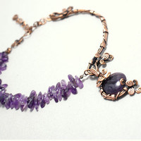 Amethyst Jewellery / Amethyst Necklace / Copper Wire Jewelry /  Gemstone Necklace / Gift For Her / Amethyst Choker / Amethyst Jewelry