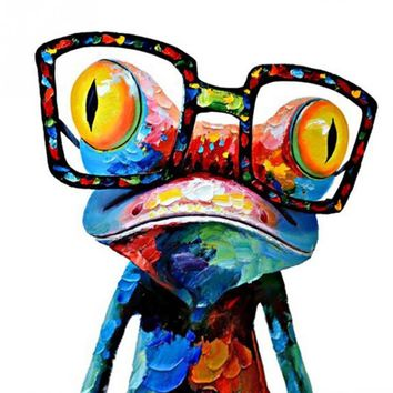 2018 50*50cm HD Glass Frog Hand painted Abstract Animal Wall Art Picture for Home Decoration Oil Painting on Canvas Frameless