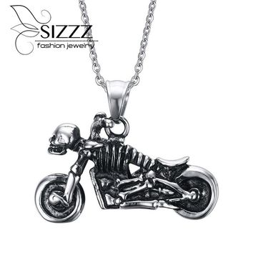 Men Vintage Stainless Steel Ghost Rider Skull Motorcycle Pendant Necklace in Silver Black Bike Jewelry