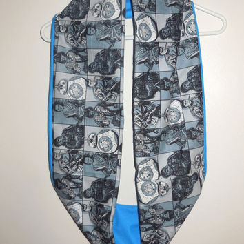 Gray Star Wars Infinity Scarf - Soft Cotton Flannel - Turquoise Blue Star Wars Scarf - New Movie Characters - Women's Infinity Scarf