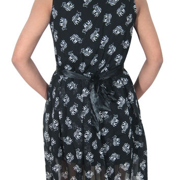 "Women's Dress Black Elephant Print Georgette Sleeveless Mini Dresses (Chest:36"")"