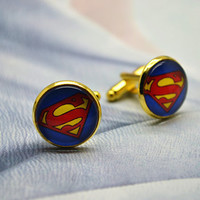 Superman Cufflinks - Novelty Superman Cufflinks for Men, Accessories for men, Superheroes jewelry(XK7