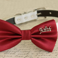 Red Dog Bow tie attached to collar, Faith charm, Dog birthday, pet wedding