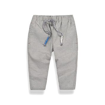 New Spring Fashion Kids Casual Pants Linen Boys Autumn Solid Soft Cotton Trousers Children Casual Trouser