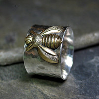 Bee ring wide band sterling silver bumblebee nature jewelry - Queen of Bees