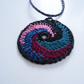 Handmade crochet necklace, multicolor necklace, crochet jewelry, spiral necklace, crochet pendant, womens accessories, fiber necklace