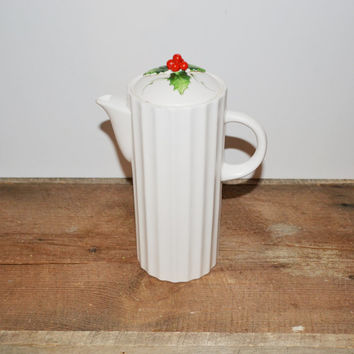 Vintage 1959 Holt Howard Holly Porcelain Pitcher White Pitcher Christmas Decorations Christmas Housewares Collectibles Holt Howard