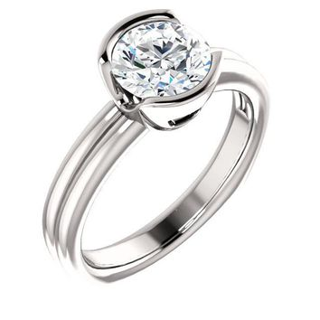 1.25 Ct Round Diamond Engagement Bezel-set Ring 14k White Gold