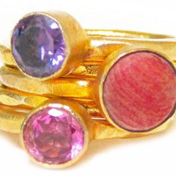 FIFI: Contemporary 24ct Gold Plated Stackable Ring Set in Pink