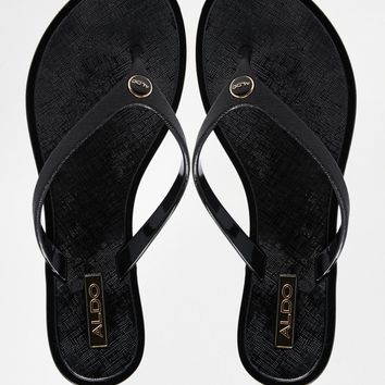 ALDO Prylian Black with Gold Logo Flip Flops