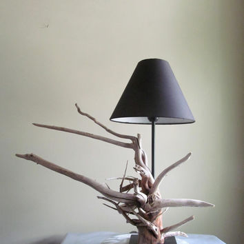 "18"" Driftwood Root Ball Table Lamp with Black Base, Driftwood Lighting, Driftwood Art, Driftwood Home Decor, Lighting Decor"