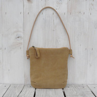 Suede leather crossbody bag purse mustard small leather bag Purse Clutch