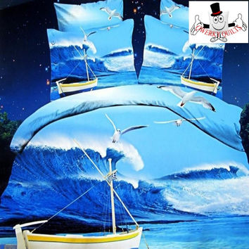 3D Bed Set Seagull Blue Sea Boat Bedding Set and Quilt Cover