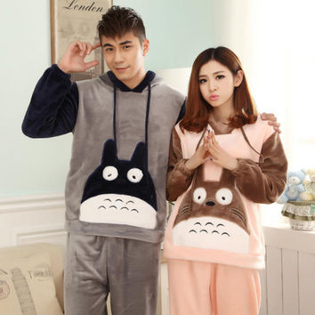 New Winter Totoro Flannel Couple Pajama Sets Adult Onesuit Pyjamas For Women/Men/Femme Adult Footed Pajamas Sleepwear C2241