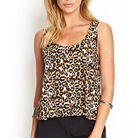 FOREVER 21 Leopard Print Tank Top Brown/Black