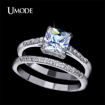 UMODE Brand Engagement Ring Set Two Band 1.6 Carat Princess Cut Zirconia Crystal Wedding Rings for Women Hot Anillos Anel UR0139