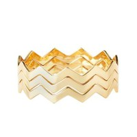 Chevron Bangle Bracelets - 3 Pack by Charlotte Russe - Gold