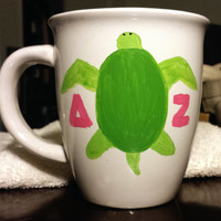 Delta Zeta Hand Painted Turtle Mug 14 oz