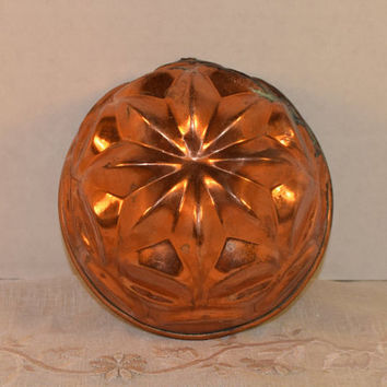 Copper Round Star Jello Mold Vintage Copper Tin Lined Baking Pan Copper Wall Hanging Farmhouse Kitchen Copper Collectible Rustic Mold