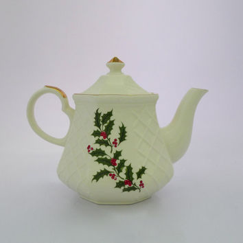 Vintage Holly Teapot, All The Trimmings, Cream Teapot, Porcelain Holiday Teapot
