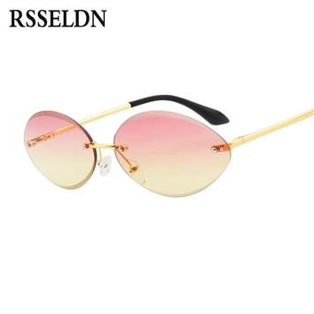 RSSELDN Small Rimless Sunglasses Women 2018 Fashion Pink Brown Oval Sun glasses For Female Gradient Lens Shades Vintage UV400