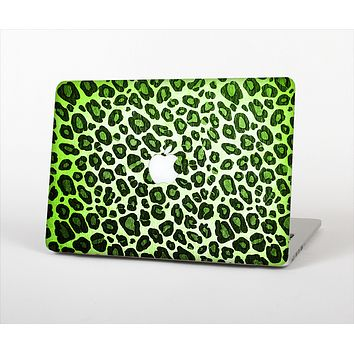 "The Vibrant Green Leopard Print Skin Set for the Apple MacBook Pro 13"" with Retina Display"
