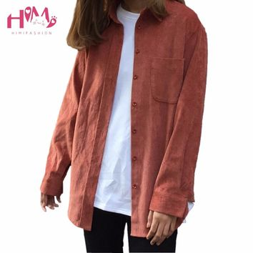 Spring Vintage Style Korean Chic Shirt For Female Loose Slim Corduroy Long Sleeve Shirt Solid All-match Casual Simple Soft Shirt