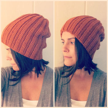 Slouchy Hat Beanie Crochet Rust Perfect Fit