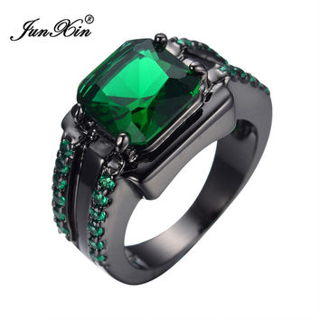 Men's Fashion Jewelry Finger Rings 14KT Black Gold Filled Ring Size 10 Emerald Sapphire HOT Selling Alternative Measures
