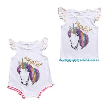 Matching Cotton Clothes Big Sister T-shirt Vest Little Sister Romper Outfits Set Children Infant Girls Cotton Clothing