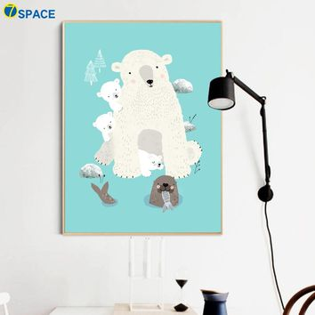 Cartoon Family Polar Bear Seal Nordic Poster Wall Art Canvas Painting Posters And Prints Wall Pictures For Kids Room Home Decor