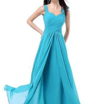 Women' A Line Floor Length Chiffon Prom Dresses Formal Party Long Bridesmaid Dresses Turquoise Burgundy Pink Blue Purple Red