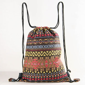 Native American Indian/Aztec/Inca Tribal Drawstring Backpack Gym Bag Boho Hippie Gypsy Style