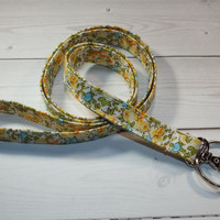 Skinny floral Lanyard  ID Badge Holder -  Lobster clasp and key ring New Thinner  Design - vintage inspired flowers yellow