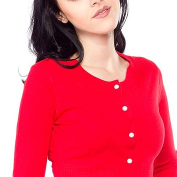 Pointelle Cardigan in Red | Blame Betty