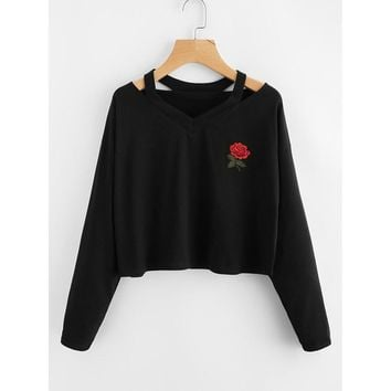 Rose Print Pullovers 2017 Autumn& Winter Fashion Womens Long Sleeve Sweatshirt Causal Tops black Crop Sweatshirts