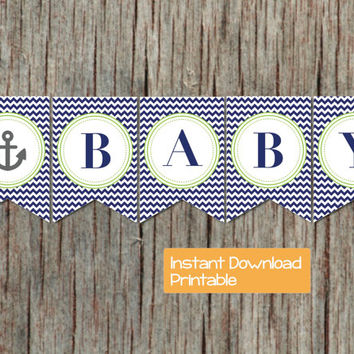 Nautical Anchor Baby Shower Banner Navy Blue Lime Green Decorations Supply INSTANT DOWNLOAD Oh Baby Printable DIY pdf Boy Printable Party 45