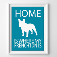 "8x10"" Frenchton Wall Art, Illustrated Dog Art, Frenchton Decor, Dog Breed Wall Art, Frenchton Dog Art, Puppy Wall Art Print, Frenchton Gift"
