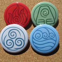 Avatar last Airbender/Legend of Korra elements pin set of 4