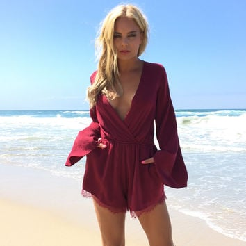 Feel The Love Romper In Burgundy