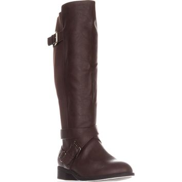 TS35 Vada Wide Calf Flat Riding Boots, Cognac, 7.5 W US